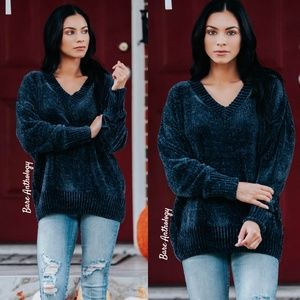 V-Neck Soft Oversized Chenille Sweater